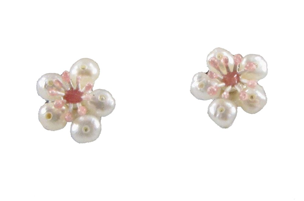 ''Cherry Blossom'' Petite Pearl Earrings by Michael Michaud for Silver Seasons…