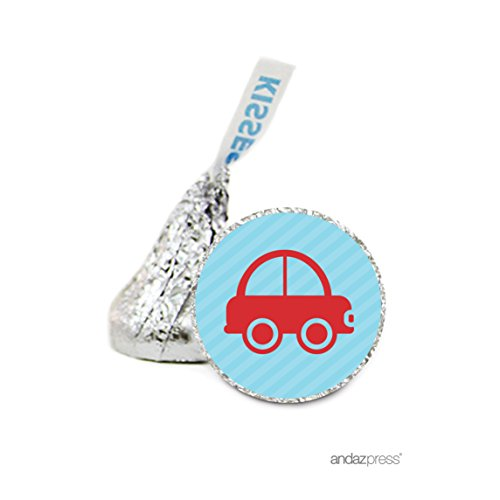 Andaz Press Chocolate Drop Labels Stickers Single, Baby Shower, Boy Car, 216-Pack, For Hershey's Kisses Party Favors, Gifts, Decorations, Birthday