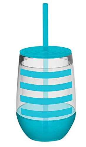 10 oz Aqua Striped Acrylic Double Wall Insulated Stemless Wine Glass with Lid and (Diy Monogram Wine Glasses)