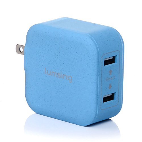 - Lumsing Dual USB wall charger compact travel charging hub with Foldable Power Adapter for iPhone iPad Samsung Galaxy Smartphones Tablets