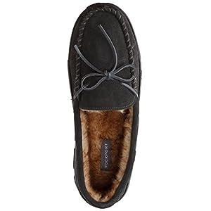 Rockport Men's Memory Foam Plush Suede Slip On Indoor/Outdoor Moccasin Slipper Shoe
