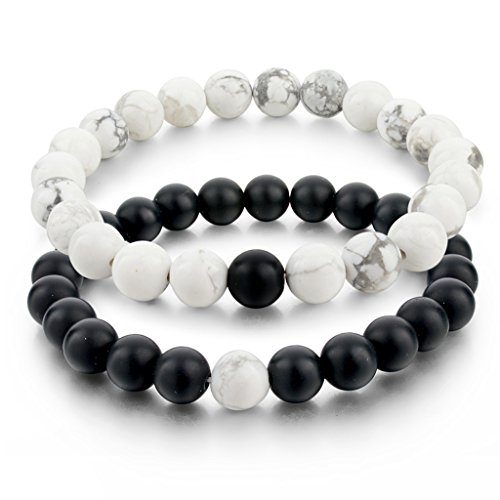 Long Way Distance Bracelets for Lovers-2pcs Black Matte Agate & White Howlite 8mm Beads by Long Way