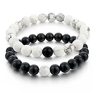 Distance Bracelets for Lovers-2pcs Black Matte Agate & White Howlite 8mm Beads By Long Way