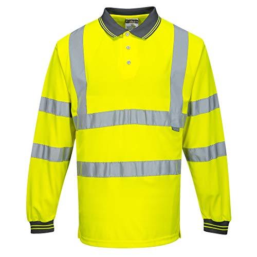 Portwest S277 Workwear Men's Long Sleeve Hi-Vis Polo Shirt, Yellow, Large