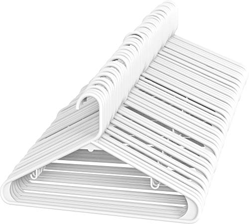 Sharpty White Plastic Hangers, Plastic Clothes Hangers Ideal for Everyday Use, Clothing Hangers, Standard Hangers (60 Pack)