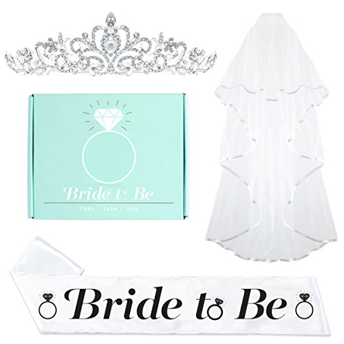 [Bachelorette Party Bride To Be Decorations Kit - Bridal Shower Supplies | Sash For Bride, Rhinestone Tiara, + Veil] (Regal Rose Print)