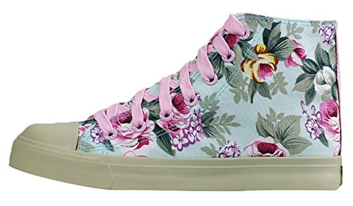Women spring High-top Floral Canvas Shoes Students Casual Lace Up Fashion Sneakers