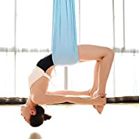 wellsem Deluxe L: 5.5 m W: 3 Yard Pilates Yoga Flying Swing Aerial Yoga hamaca seda tela para Yoga Bodybuilding (5mx2.8 m)