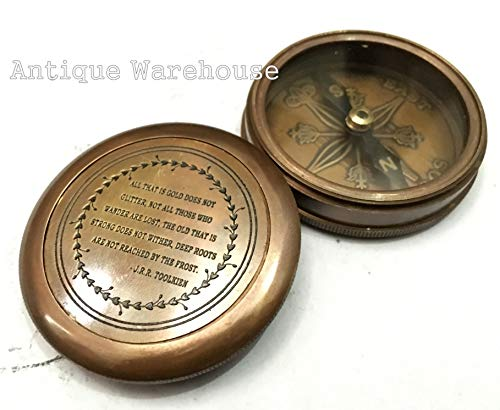 Solid Brass Antique Reproduction Magnetic Compass is The Size of a Standard Pocket Watch Best Famous Quotes J.R.R Tolkien Halloween Birthday Gifts for $<!--$25.00-->