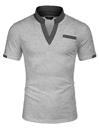 COOFANDY Men's Polo Shirts with Contrast Color Stand Up Collar Chest Posckets Camisas Sport T Shirts Gray S