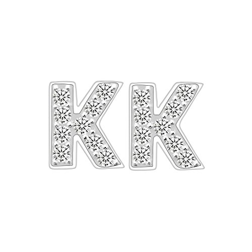 EVER FAITH 925 Sterling Silver Pave Cubic Zirconia Fashion Initial Alphabet Letter K Stud Earrings Clear (Initial Rhinestone)