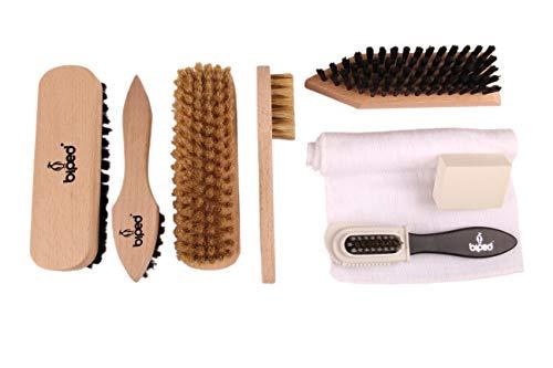 Die Schuhanzieher Kit Classique de Cirage avec Brosse à lustrer, Brosse à Daim, Brosse Dure, Gomme détachante, Toile de… 1