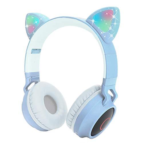 Kids Wireless Headphones Cat Ear Bluetooth Headphones with Flashing Led Light, SD Card Slot, FM,3.5 mm Audio Jack Wired Kids On Ear Headphones for Boys Girls Adults(Light Blue)