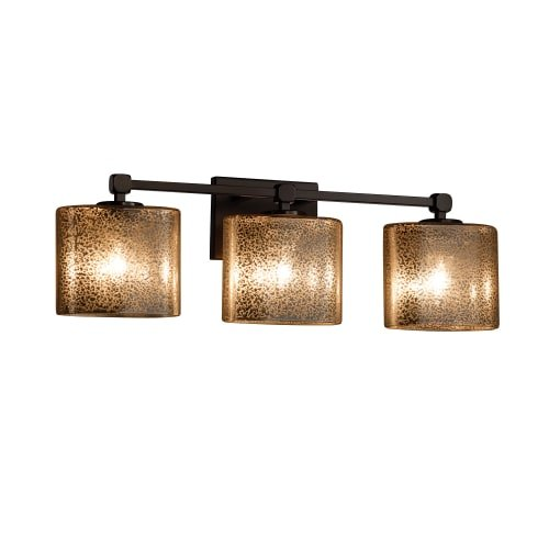 Justice Design Group Lighting FSN-8423-30-MROR-DBRZ Justice Design Group - Fusion - Tetra 3-Light Bath bar - Oval - Dark Bronze Finish with Mercury Glass Shade, (Mercury 3 Light Bath)