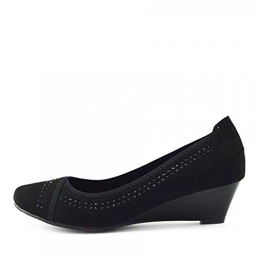 Kick Footwear - WOMENS FAUX SUEDE LOW HEEL WEDGE CASUAL ARBEIT SCHICKE PUMPS Schwarz