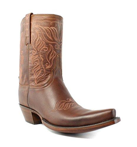 Lucchese Hl4502 S54 Adina Stivali Da Cowboy Western In Pelle Di Vitello Marrone Brunito