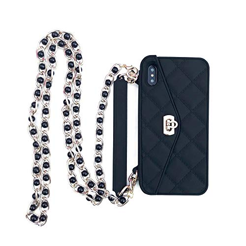 iPhone XR Case,Tuerdan [Cross-Body Case] [Long Strap Rope Case] [Pearl Chain Silicone Case] [Hidden Wallet] [Compact and Stylish] Protective for iPhone XR (Blackish Green)]()