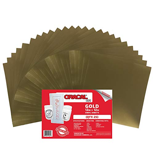 (25) 12 x 12 Sheets - Oracal 651 Gold Adhesive Craft Vinyl for Cricut, Silhouette, Cameo, Craft Cutters, Printers, and Decals - Gloss Finish (25) Sheets)