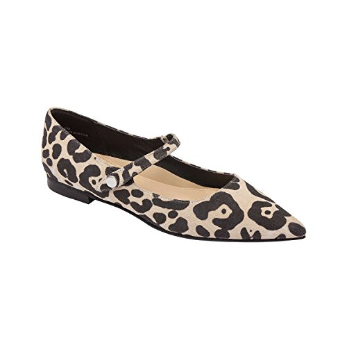 LUCI | Pointy Toe Suede Mary Jane Ballet Flat Comfortable Insole Padded Arch Support Leopard Print Suede 6M (Print Suede Flats)