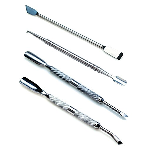 Amazing Value Set of 4 High Quality Professional Stainless Steel Manicure Cuticles Maintenance And Treatments Double Ended Tools Accessories With Pushers, Trimmers / Cutters, Scrapers And Knives By VAGA