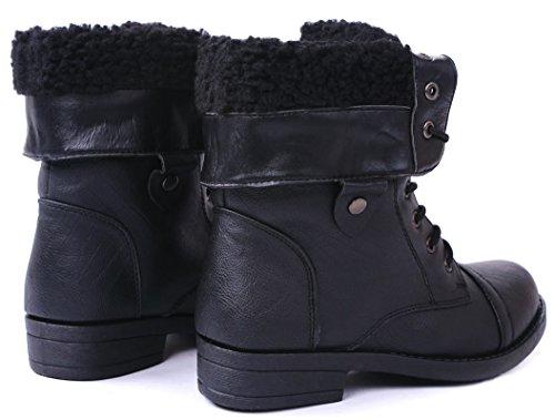 Jjf Chaussures Anna Bella Marie Dallas-11 Femmes Fourrure Doublée Pliable Brassard Lacets Mi-mollet Bottes De Combat Noir
