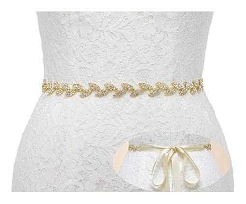 SWEETV Rhinestone Leaf Bridal Belt Wedding Belt Crystal Headband Bridesmaid Sash for Dress & Gown, Gold]()