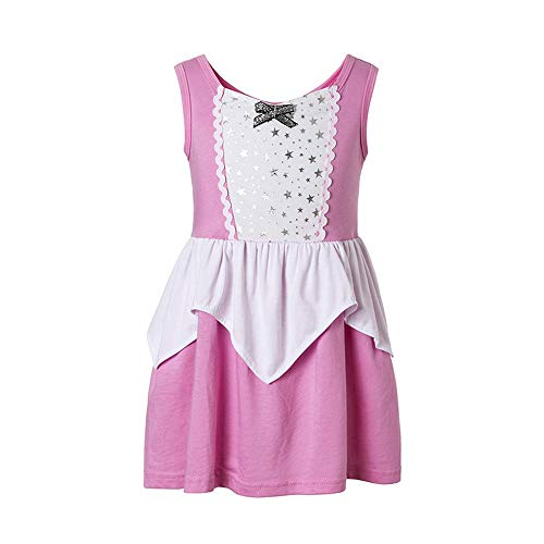 Aurora Costume for Girls Princess Dressup Sleeping Beauty Maleficent Movie Aurora Coronation (Pink, 7-8)]()