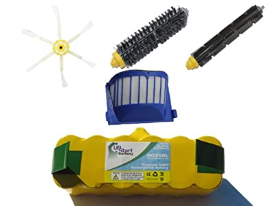 Replacement iRobot Roomba 595 Pet Series Battery, Filter, Bristle Brush, Flexible Beater Brush and 6-Arm Side Brush - Kit Includes 1 Battery, 1 AeroVac Filter, 1 Bristle Brush, 1 Flexible Beater Brush and 1 6-Arm Side Brush