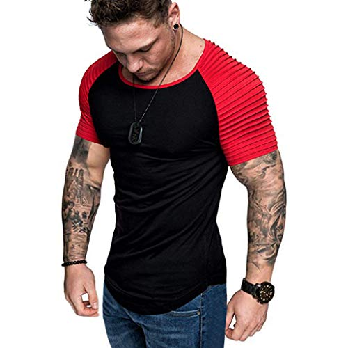 (Sunmoot Summer Patchwork Top for Mens Short Sleeve Slim Fit T-Shirt Raglan Pleats Pattern Casual Top Blouse)