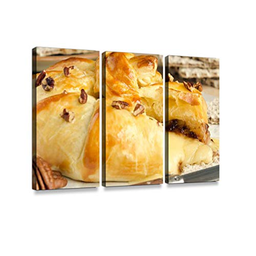 Homemade Nutty Baked brie3 Pieces Print On Canvas Wall Artwork Modern Photography Home Decor Unique Pattern Stretched and Framed 3 Piece
