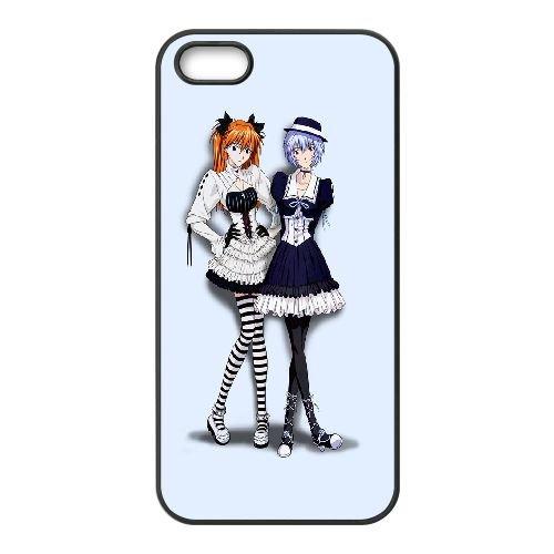 Ayanami And Asuka Neon Genesis Evangelion coque iPhone 5 5S Housse téléphone Noir de couverture de cas coque EBDOBCKCO11773
