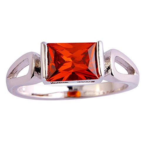 Narica Womens Simple Cute Emerald Cut Ruby Spinel Cocktail Ring Band Emerald Spinel Ring