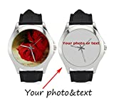 InterestPrint Personalized Custom Gift Women's Classic Leather Strap Casual Wrist Watch with Your Photo or Text