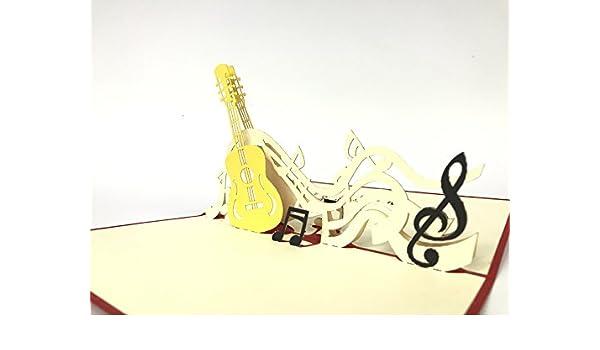 Tarjeta de felicitación para guitarra acústica con diseño de notas ...