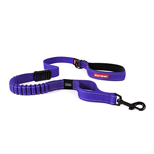 EzyDog Zero Shock Leash - Best Shock Absorbing Bungee Dog Leash & Training Lead - Double Handle Reflective Leash for Traffic Control - for Walking, Jogging and Running (48-Inch, Purple)