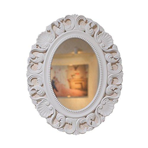 European Retro Hollow Carved Bathroom Mirror Wall-mounted Washbasin Vanity Mirror Decorative Mirror (Color : White) (Wall Mounted Washbasin)