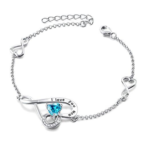 Mother's Birthday Gifts I Love You Mom Sterling Silver Love Heart Infinity Adjustable Charm Bracelet (Mother Charm Bracelet)
