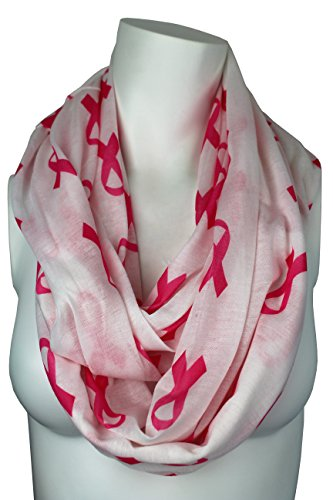 Breast Cancer Awareness White Scarf w/ Pink Ribbon and Zipper Pocket - Pop Fashion (Breast Cancer Scarf)