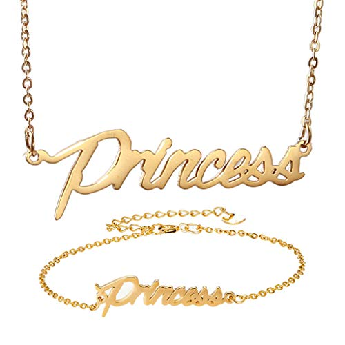 - AIJIAO Personalized Name Necklace + Name Bracelet Sets for Women Nameplate Pendant Gift -Princess Gold Set