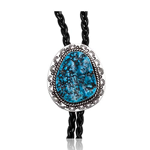$400Tag Natural Turquoise Silver Certified Navajo Native American Bolo Tie 24480 Made by Loma Siiva