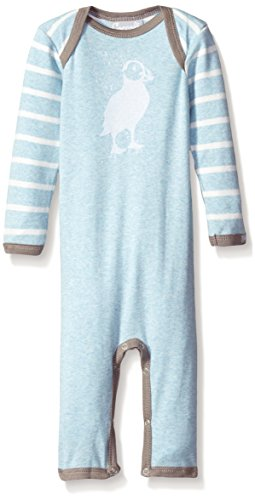 lue Contrast Rib Knit Cotton Unionsuit, Heather Blue/Cream Stripes, 9 Months ()