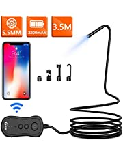 Wireless Endoscope, KZYEE 5.5mm 2.0MP 1080P HD Zoom WiFi Borescope, 2200mAh Semi-Rigid Snake Inspection Camera for Android & iOS Smartphone Tablet(11.5FT)