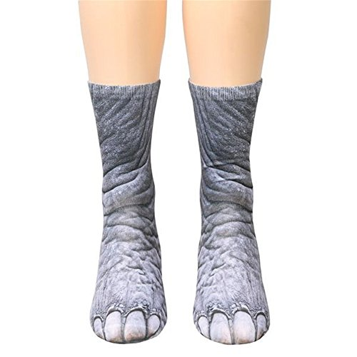 Yamally_9R Unisex 6-12 Years Old Children Animal Paw Crew Socks - Sublimated Print (B) - Sock Puppet Costume Monkey