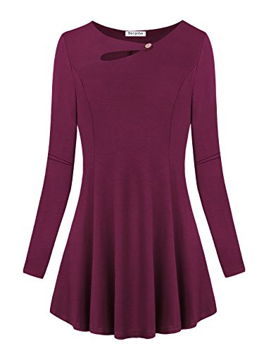 Empire Gathered Top Shirt - Becanbe Tunic Blouse, Womens Long Sleeve A-line Empire Waist Knitted Hipster Trapeze Peplum Tops(Wine,XX-Large)