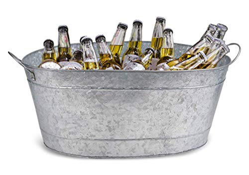 Bbq Silver Giant Trailer (Galvanized Beverage Tub – 5-Gallon Steel Beer and Ice Drink Tub with Handle - Great Party Accessory, Party Drink Holder for Indoor Outdoor Use, Silver, Oval Shaped, Regular Size 20.7 x 14 x 9 Inches)
