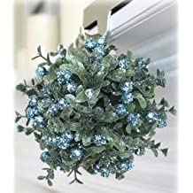 Winter Wonderland Small Mistletoe Kiss Ball Ornament - Peacock Blue Berries