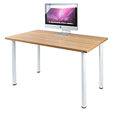 Need 47 inches Modern Computer Desk Home Office Desk Teens Desk Multi Purpose Table,Teak White AC1BW-120 - 【Overall Size】: L47 x W23.7 x H29.5 inch, weighs about 35lbs, provides large working space. 【Firm Material】: E1 solid partical wood with high resistance on scratch & friction. 【High Stability】: 1.2 mm thick metal frame, which is 1.3 times thicker than ordinary 0.8mm ones, better stablize the desk more than usual with heavy weights. - writing-desks, living-room-furniture, living-room - 41t BpVRTPL. SS400  -