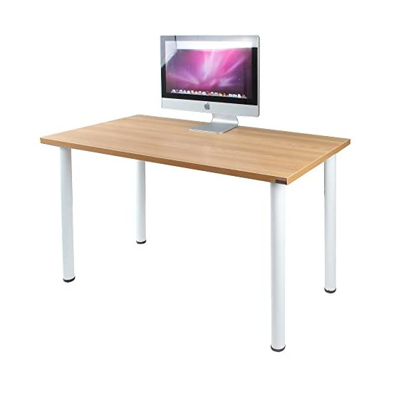 Need 47 inches Modern Computer Desk Home Office Desk Teens Desk Multi Purpose Table,Teak White AC1BW-120 - 【Overall Size】: L47 x W23.7 x H29.5 inch, weighs about 35lbs, provides large working space. 【Firm Material】: E1 solid partical wood with high resistance on scratch & friction. 【High Stability】: 1.2 mm thick metal frame, which is 1.3 times thicker than ordinary 0.8mm ones, better stablize the desk more than usual with heavy weights. - writing-desks, living-room-furniture, living-room - 41t BpVRTPL. SS570  -