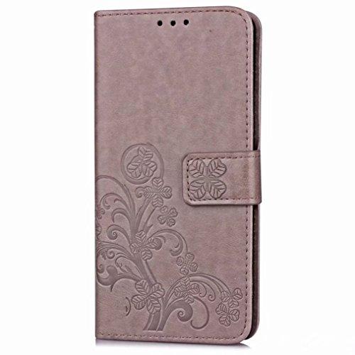 Yiizy Huawei P10 Plus Custodia Cover, Tre Foglia Erba Design Sottile Flip Portafoglio PU Pelle Cuoio Copertura Shell Case Slot Schede Cavalletto Stile Libro Bumper Protettivo Borsa (Grigio