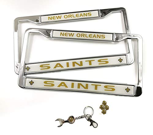 (MT-Sports Store Football Team Car Licenses Plate Stainless Steel Frames & 4 Pcs Tire Valve Stem Caps (New Orleans Saints))